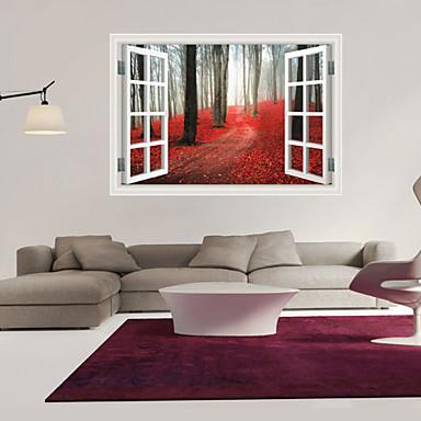 Landskap Romantik Mote Former Botanisk Tegneserie 3D Veggklistremerker 3D Mur Klistremerker Dekorative Mur Klistermærker, PVC Hjem Dekor