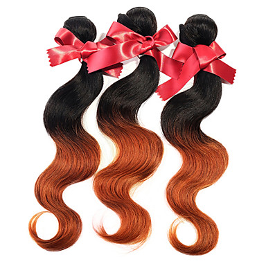 Peruvian Hair Weave Bundles Body Wave Two Tone Ombre T1B/30 Peruvian Virgin Human Hair Extensions 1pcs 50g/pcs