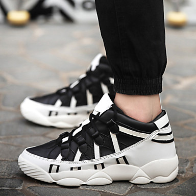 Men's Shoes Leatherette Winter Spring Summer Fall Comfort Novelty Walking Shoes Lace-up for Athletic Black and White Black White
