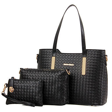 Women Bags All Seasons Patent Leather Shoulder Bag Tote Bag Set with for Shopping Casual Formal Office & Career Gold Black Beige Blue Wine