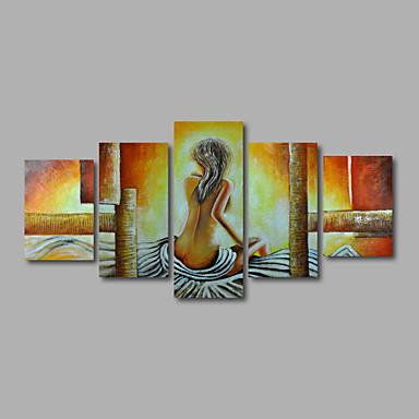 Maalattu Nude Mikä tahansa muoto, Moderni Kangas Hang-Painted öljymaalaus Kodinsisustus 5 paneeli