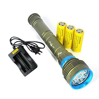 3 LED Fenerler LED 10800 lm 3 Kip Cree XM-L2 Piller ve Şarj Aleti ile Darbeye Dayanıklı Şarj Edilebilir Su Geçirmez Taktik Acil Strike