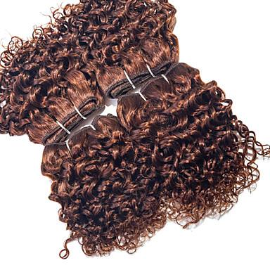Gerçek Saç Düz Brezilya Saçı İnsan saç örgüleri Kıvırcık Kıvırcık Dalgalar Saç uzatma 4 Parça Bej
