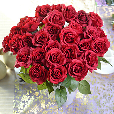 Artificial Flowers 1pcs Branch European Style Roses Tabletop Flower