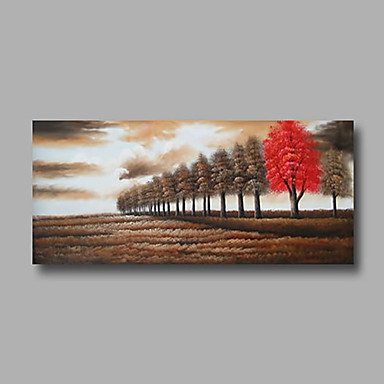 Hand-Painted Oil Painting on Canvas Wall Art Abstract Contempory Trees Brown Red One Panel Ready to Hang