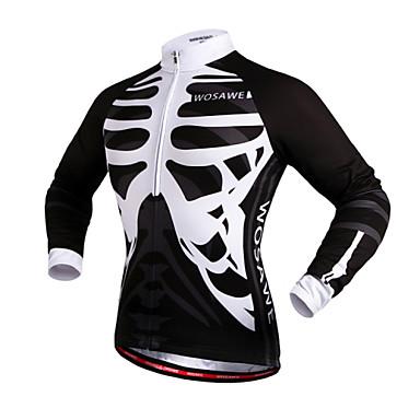 WOSAWE Unisex Cycling Jersey Bike Jersey / Top Windproof, Reflective Strips Skull Bike Wear