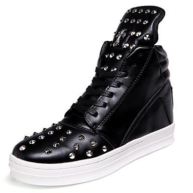 Bootsit-Tasapohja-Miesten-Mikrokuitu-Musta Musta ja valkoinen-Ulkoilu Rento Juhlat-Saappaat Comfort