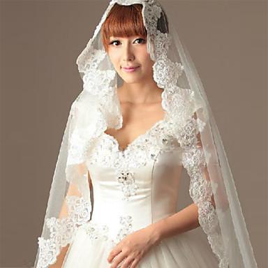 Wedding Veil One-tier Fingertip Veils Cut Edge Lace Applique Edge Tulle White Ivory