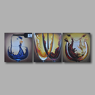 Hand-Painted Abstract Horizontal, Modern Canvas Oil Painting Home Decoration Three Panels