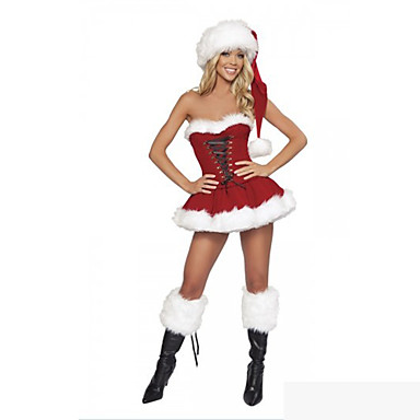 Fancy Ribbon Lace Red Velvet Christmas Costumes(One Size)