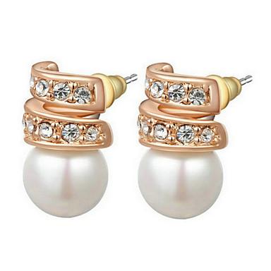 Damen Ohrring Künstliche Perle Kubikzirkonia Stud Earrings