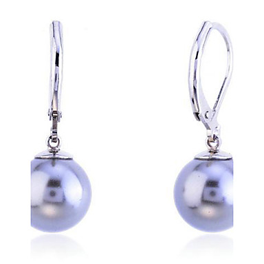 Women's Pearl Silver Plated Drop Earrings - Fashion Gray Earrings For Party Daily Casual