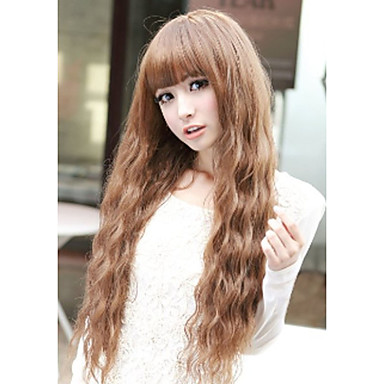 Capless Mix Color Long Length High Quality Natural  Curly Hair Synthetic Wigs