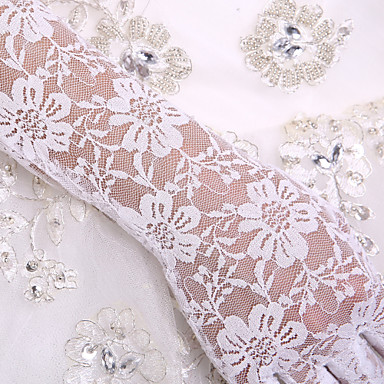 Lace Cotton Wrist Length Elbow Length Glove Charm Stylish Bridal Gloves Party/ Evening Gloves With Embroidery Solid