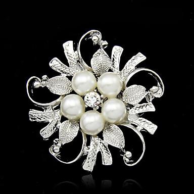 hesapli Moda Broşlar-Kadın's İnci Broşlar Çiçek Bayan Moda İmitasyon İnci Gümüş Kaplama Broş Mücevher Gümüş Uyumluluk Düğün Parti Özel Anlar Doğumgünü Hediye Günlük