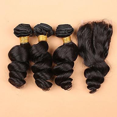 Hair Vetülék, zárral Maláj haj Laza hullám haj sző