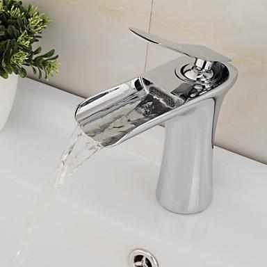 Nykyaikainen Integroitu Vesiputous Keraaminen venttiili Yksi reikä Yksi kahva yksi reikä Kromi , Kylpyhuone Sink hana