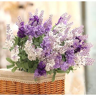 Artificial Flowers 1pcs Branch Silk Plastic Lavender Tabletop Flower