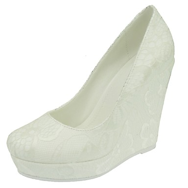 Women's Wedding Shoes Round Toe Wedges Heel Wedding / Dress White