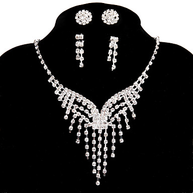 Women's Luxury Handmade Chain Necklace Rhinestone Alloy Chain Necklace , Wedding Party Engagement