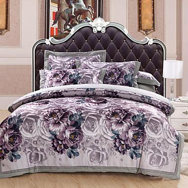 Duvet Cover Sets Floral 4 Piece Cotton Reactive Print Cotton 1pc Duvet Cover 2pcs Shams 1pc Flat Sheet