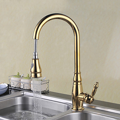 Kitchen faucet - Single Handle One Hole Ti-PVD Pull-out / Pull-down Deck Mounted Traditional