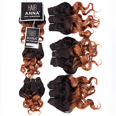 3 Bündel Brasilianisches Haar Klassisch / Lose gewellt Unbehandeltes Haar Ombre 8 Zoll Ombre Menschliches Haar Webarten Schlussverkauf Haarverlängerungen