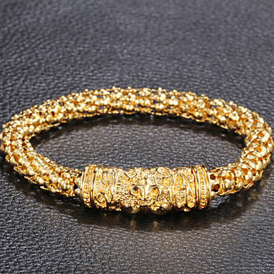 Fashion Pattern Carve 316L Stainless Steel Gold Plated Corn Link Chain Bracelets
