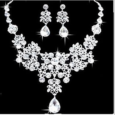 Damen Schmuckset Kubikzirkonia versilbert Aleación Party Brautkleidung Elegant Hochzeit Ohrringe Halsketten Modeschmuck