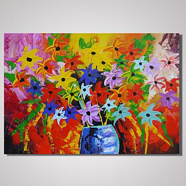 Maalattu Abstrakti Asetelma Kukkakuvio/Kasvitiede Horizontal,Moderni 1 paneeli Kanvas Hang-Painted öljymaalaus For Kodinsisustus