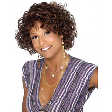 Synthetic Hair Wigs Curly African American Wig Capless Carnival Wig Halloween Wig Short Brown