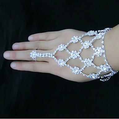 abordables Bracelet-Bracelets Plusieurs Tours Bracelets Bagues Femme Strass Plaqué argent Imitation Diamant Fleur Spot Multicouleur Bracelet Bijoux Blanc pour Soirée Quotidien