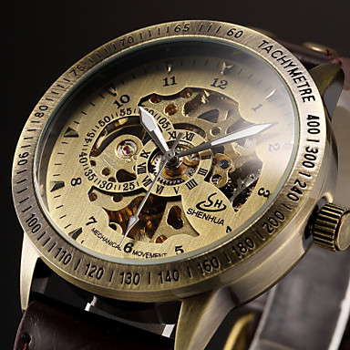 Men's Wrist Watch / Mechanical Watch Hollow Engraving Leather Band Luxury Black / Brown / Automatic self-winding