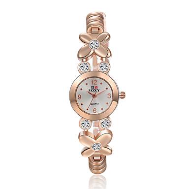 Damen Modeuhr Armband-Uhr Quartz Legierung Band Blume Elegante Gold Golden
