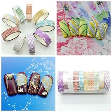 10pcs Mix Color&Style Glitter Striping Tape Nail Art Decoration