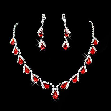 Ruby Sintético Franjas Conjunto de jóias - Zircônia Cubica, Imitações de Diamante Caído Festa Incluir Vermelho Para / Brincos / Colares
