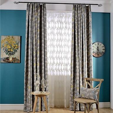 Ösen Zweifach gefaltet zwei Panele Window Treatment Landhaus Stil Modern Neoklassisch , Druck Schlafzimmer Poly /  Baumwollmischung Stoff