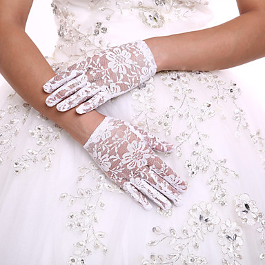 Lace Cotton Wrist Length Glove Charm Stylish Party/ Evening Gloves Flower Girl Gloves With Embroidery Solid