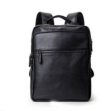 Homens Bolsas Couro Ecológico Courino mochila Ziper para Casual Ao ar livre Primavera Todas as Estações Preto