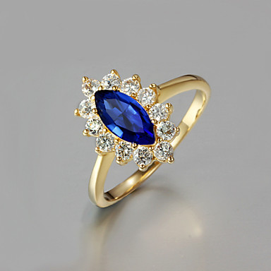 Women's Band Ring - Zircon, Gold Plated, 18K Gold Plated Golden