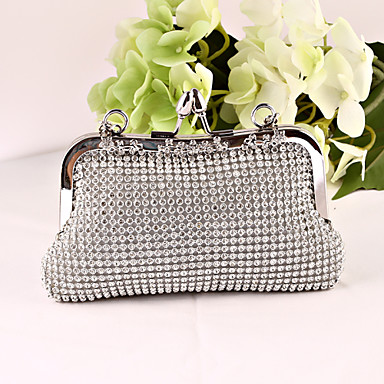 Women Bags All Seasons Metal Satin Evening Bag Crystal/ Rhinestone for Wedding Event/Party Formal Office & Career Gold Black Silver