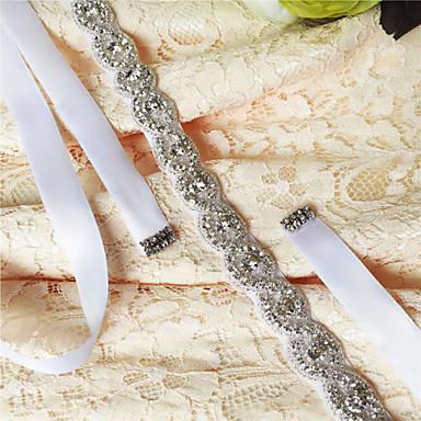 Satin Wedding Party / Evening Dailywear Sash With Rhinestone Crystal Beading Women's Sashes