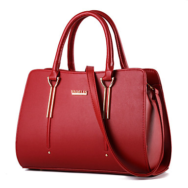 Women's Bags PU Tote / Shoulder Bag Rivet for Shopping / Casual / Formal Fuchsia / Wine / Royal Blue