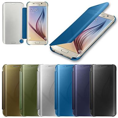 Pouzdro Uyumluluk Samsung Galaxy Samsung Galaxy Kılıf Oto Uyu / Uyan Ayna Flip Tam Kaplama Kılıf Tek Renk PC için S6 edge plus S6 edge S6