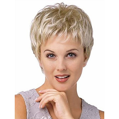 Women Synthetic Wig Short Straight Platinum Blonde Natural Wigs Halloween Wig Carnival Wig Costume Wig