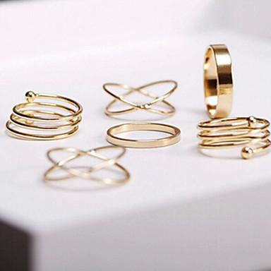 voordelige Ring Sets-Dames stapelbaar Sieraden Set Ringen Set duimring Legering Dames Ongewoon Uniek ontwerp Modieuze ringen Sieraden Gouden Voor Feest Dagelijks Causaal Verstelbaar 6pcs