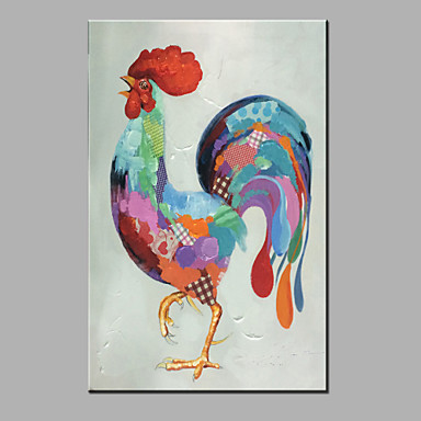 Hang festett olajfestmény Kézzel festett - Állatok Modern Vászon