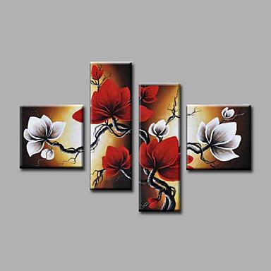 Kézzel festett Absztrakt / Virágos / BotanikusModern Négy elem Vászon Hang festett olajfestmény For lakberendezési