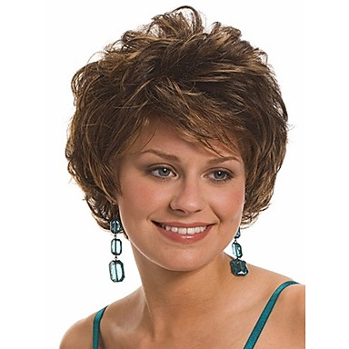 Synthetic Hair Wigs Wavy Capless Brown