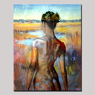 Hand-Painted Abstract Portrait Vertical, Modern Canvas Oil Painting Home Decoration One Panel